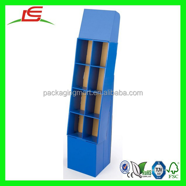 N284 Corrugated POP Display With 8 Pockets for Books, Custom Colorful Floor Cardboard Counter Top Display with Removable Header