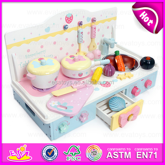Newest design kids cooking play wooden toy kitchen play set for ...