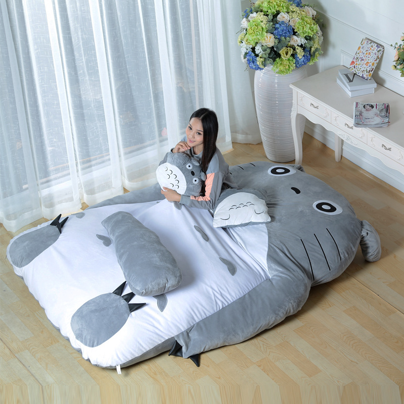 2016 Custom PP cotton soft Totoro shaped plush bed for sleeping
