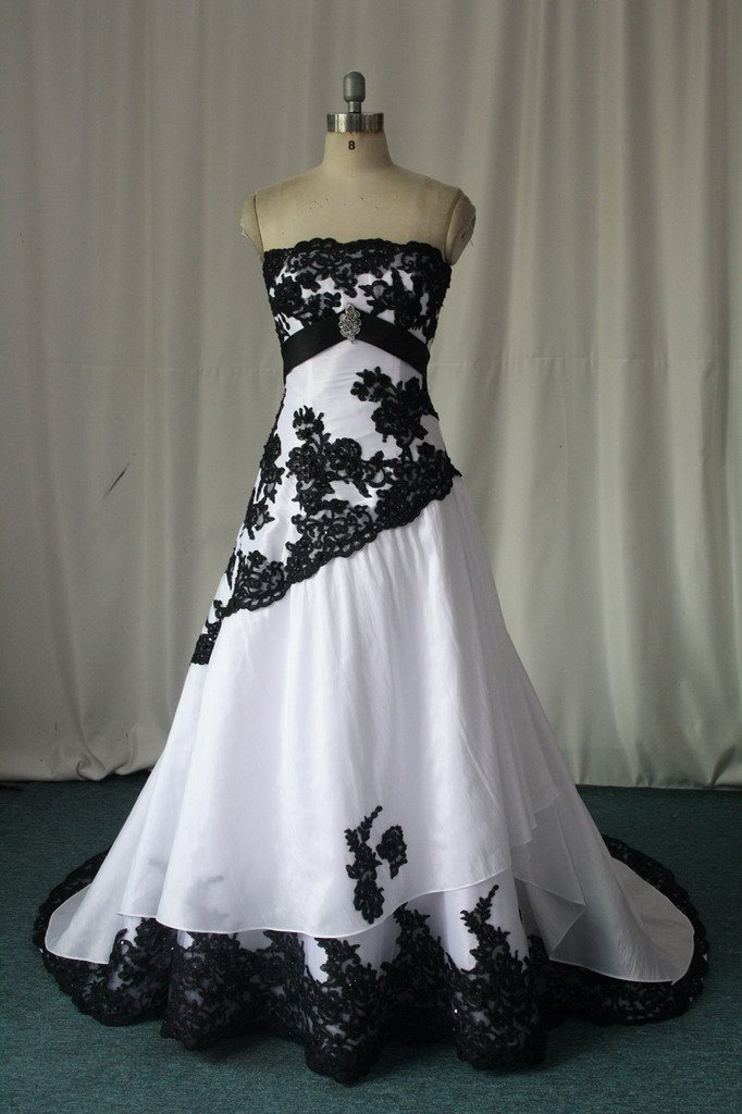 Newly Classic White Black Lace Wedding Dress Denise - Buy White ...