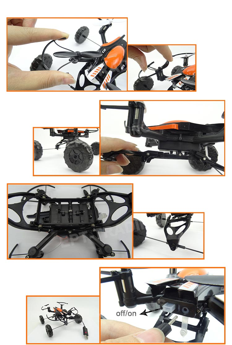 3-In-1 UFO RC Quadcopter 2.4G 4CH 6Axis Mini Waterproof Helicopter Hover Drone Fly Drive Swim Remote Control Toys