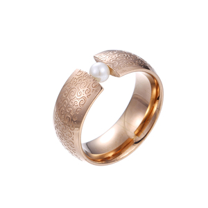 15102 Xuping new design jewelry imitation pearl tension set rose gold color finger ring for ladies