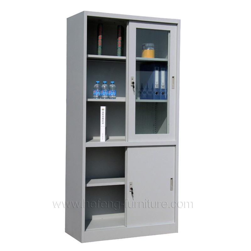 Office 2 Door Metal Storage Cabinet Sliding Door Bookcase Metal ...