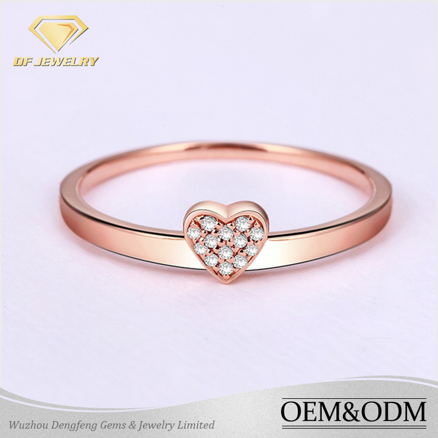 2016 wholesale fashion jewelry 925 Sterling Silver latest rose gold finger ring designs heart shape diamond wedding ring