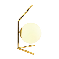 Brass Linear Frame Modern Table Lamp with White Globe Glass Shade