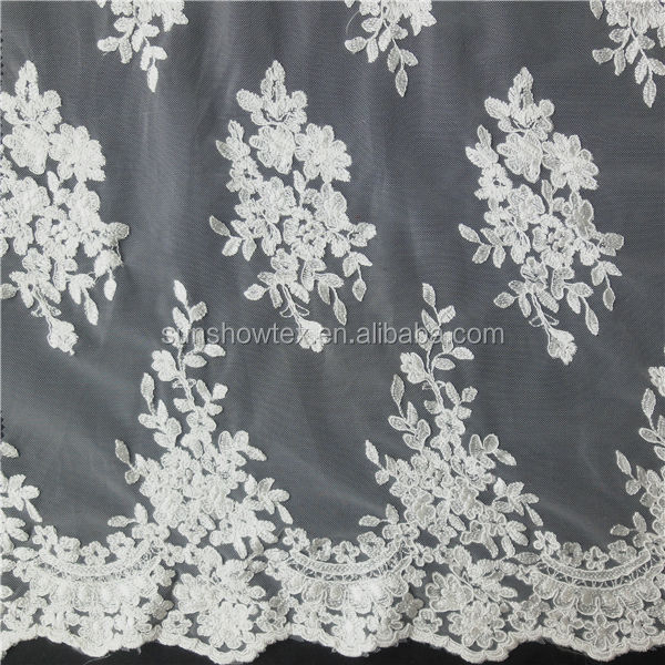 250D bridal cord embroidery bridal veil tulle fabric