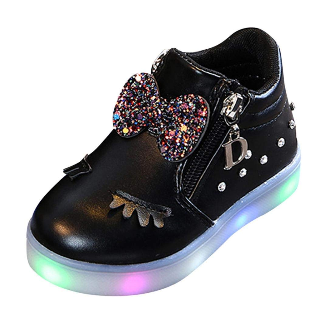 Infant Kids Crystal Bowknot LED Luminous Boots, Outsta Baby Girls Sport Shoes Anti-Slip Shoes Soft Sole Sneakers (US:8(Age:3.5-4T), Black)