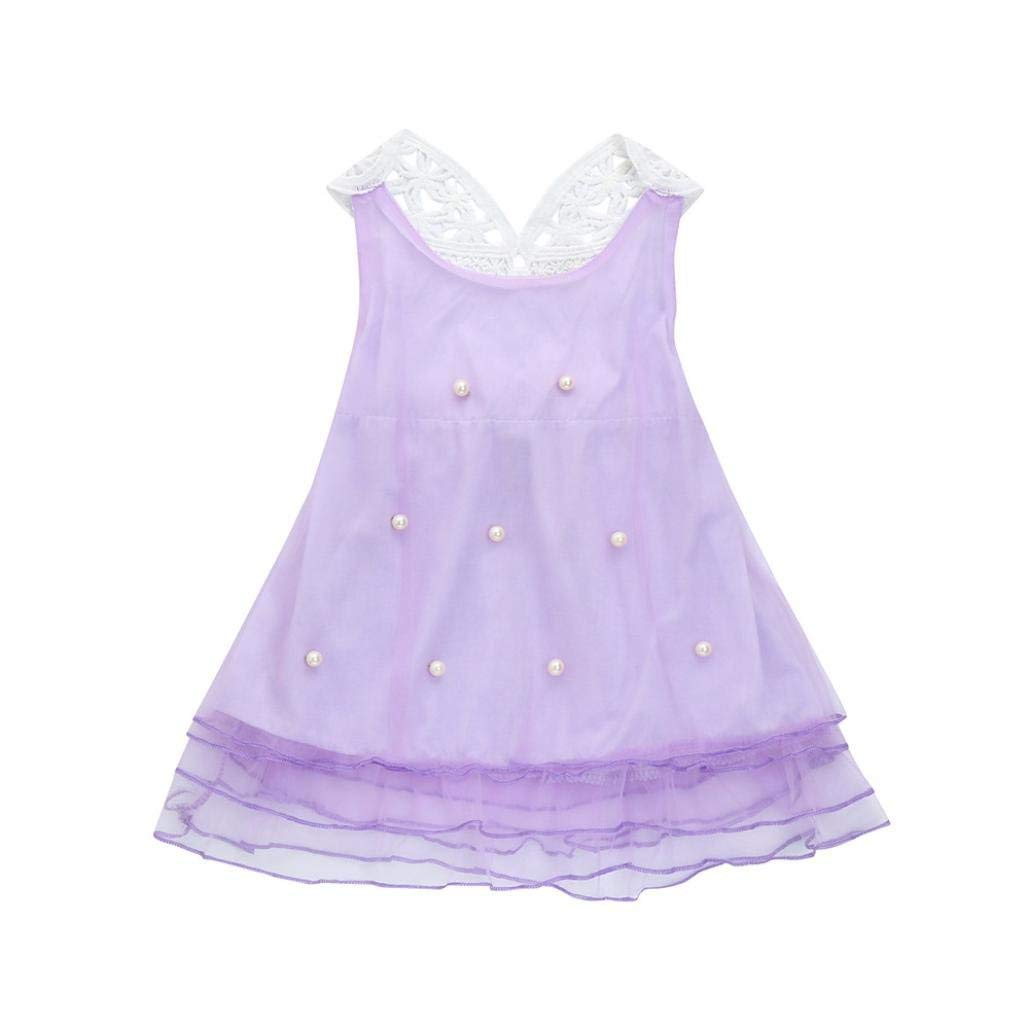 TiTCool Little Girls Party Dresses, Pageant Pearl Lace mesh Tutu Skirt Princess Sleeveless Dress