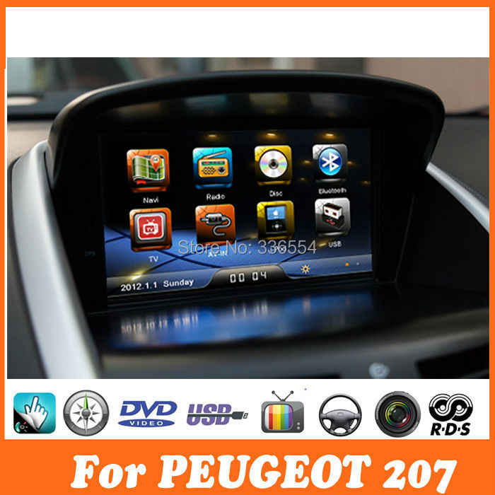 car dvd gps navigation for peugeot 207 radio rds dvd player multimedia headunit sat nav. Black Bedroom Furniture Sets. Home Design Ideas