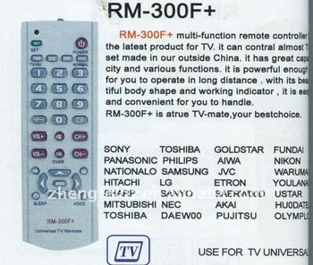 Universal Remote Control Rm-300f+ - Buy Remote Control For Home  Appliances,Universal Programmable Remote Control,Universal Tv Remote  Control Product