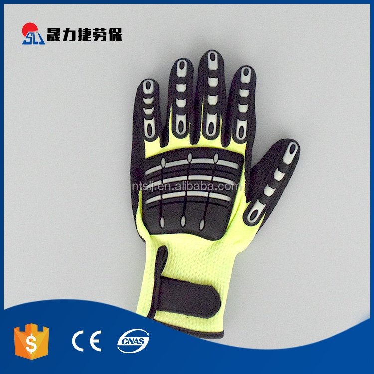 High quality custom polyester lined latex coated mechanical working gloves