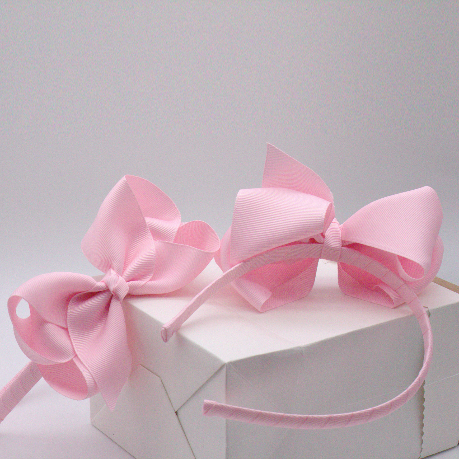 Ladies kids girls pink ribbon bow fabric hair hoop fashion headband bands