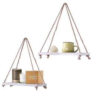 Rustic wood floating shelves with string for living room wall