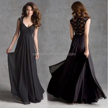 Modern Victorian Empire Black Prom Dress Floor Length Evening Dress Fat Black Evening Dress