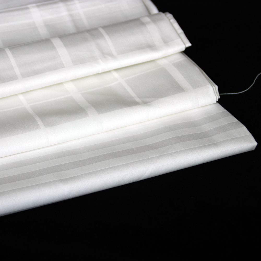 Percale white bleach 180TC 100% cotton satin stripe fabric in roll packaging wholesale