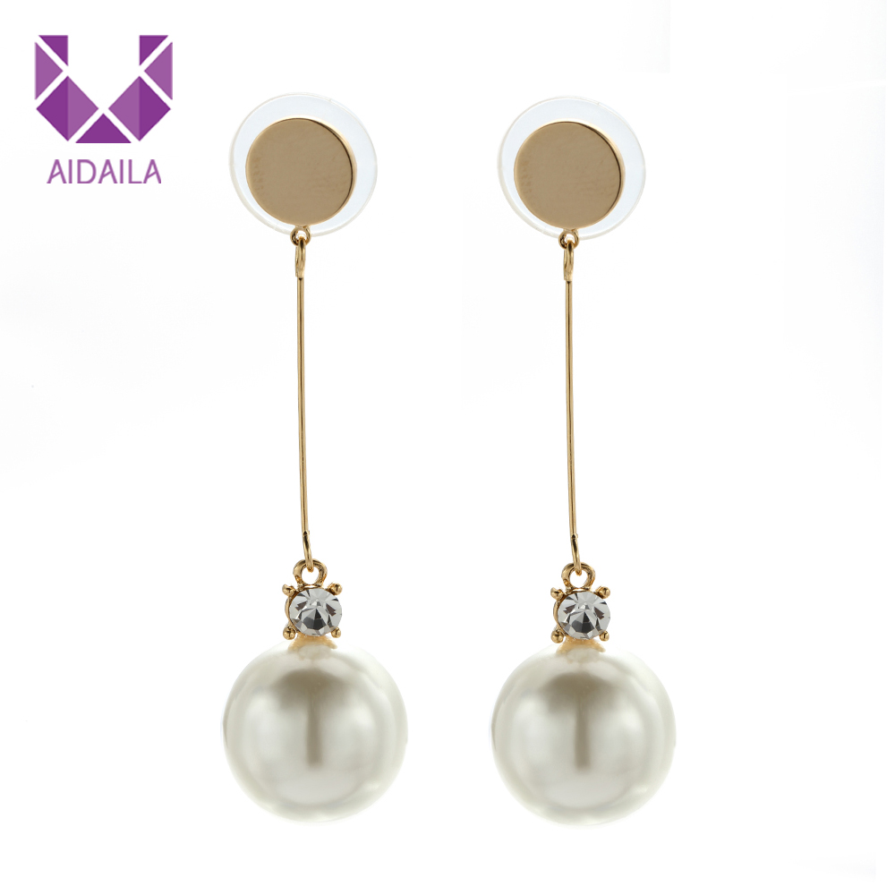 AIDAILA Fashion Jewelry 큰 펄 Drop Earrings