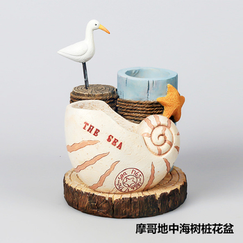 Roogo resin new products European Mediterranean Aegean bird watch sea style flower pot