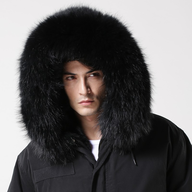 2015 Korean Style Black Mens Parka,Real Fur Hooded Winter Coat ...