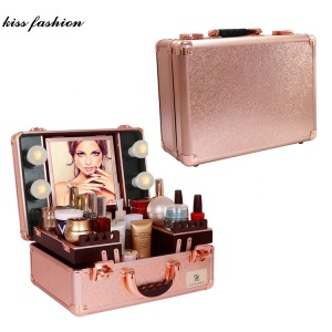 Online Shopping Fashion Lightweight Makeup Case With Lights For Sale With Mirror