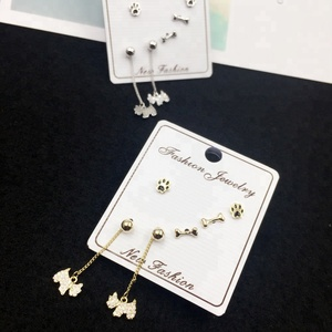 Fancy Bone Dog Paw Pendant Drop Earring 925 Silver Needle Animal Zircon Earrings Fashion Jewelry Sets