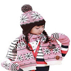 kid fleece lined knitted earflap beanie hat scarf and mitten