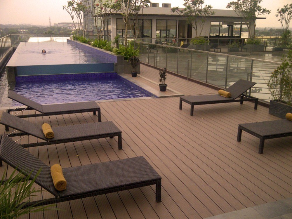Outside Engineering Wpc Flooring For Terrace Wood Plastic Composite  Water Proof Solid Wpc Decking