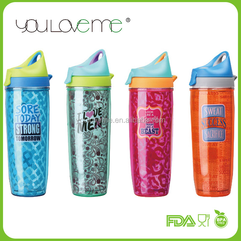 made in china double layer PVC insert plastic tritan drinking bottle, dropper bottle , acrylic tumbler