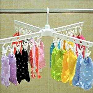 Baoyouni Plastic Clothespins Folding Clothes Drying Rack Laundry Drip Hanger 24 Clips Peg for Hanging Socks, Baby Clothes, Cloth Diapers, Bras, Towel, Underwear, Hat, Scarf, Gloves (White)