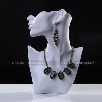 White Head Mannequin Necklace Pendant Earring Display Stand Jewelry Bust Figurine Afellow Afnpd11
