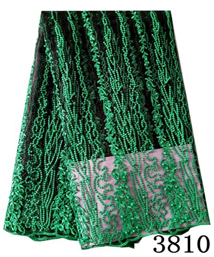 2017 hot selling nigerian party dresses aso ebi wholesale green tokay french lace fabric embroidery latest beaded lace