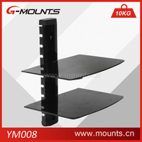 Set-top box tv mount dvd wall bracket with two tempered glass