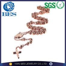 Shiny Rose Gold Catholic The Blessed Virgin Mary Religious Cross Stainless Steel Rosary Colored Bead Sweater Cross Necklace