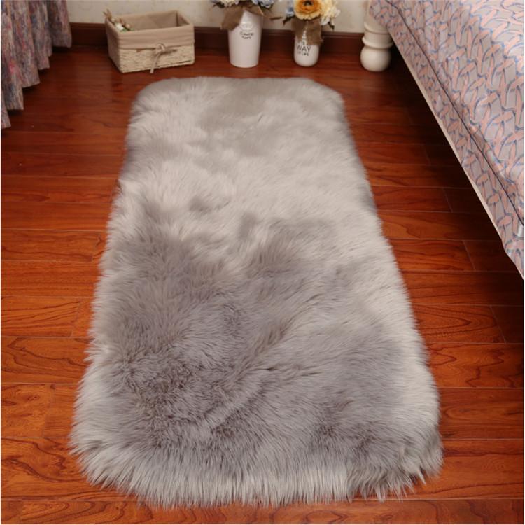 Black Bear Shape Faux Fur Sheepskin Rug