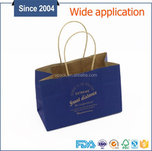 Custom made recyclable kraft grocery reusable paper bags with handle