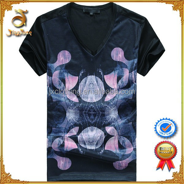 Man Black Cheap Cotton Printed V-neck discount t shirts For Wholesale