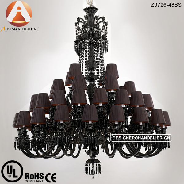48 Lamp Baccarat Large Black Crystal Chandelier With Lampshade On