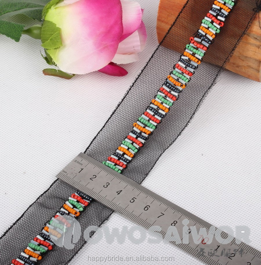 Vintage Colorful Tube Bead Lace Beaded Trim For Jewelry and Wedding garter Handmade LO10018