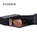 FONEX New Fashion Men Night VisionTitanium Sunglasses Women Rimless Pilot Night Vision Driving Sun Glasses With