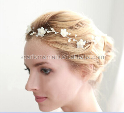 Latest High Quality Flower Head Wreath Bridal Wedding Headpiece Pearl Beads Handmade Ribbon Head Band