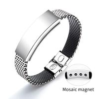 Man business accessories silver stainless steel watch strap creative adjustable bracelet