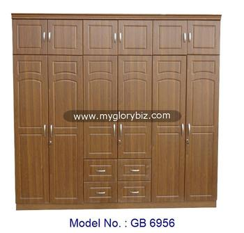 Big Wardrobe Closet, MDF 6 Doors Wardrobe, Malaysia Bedroom Furniture  Designs