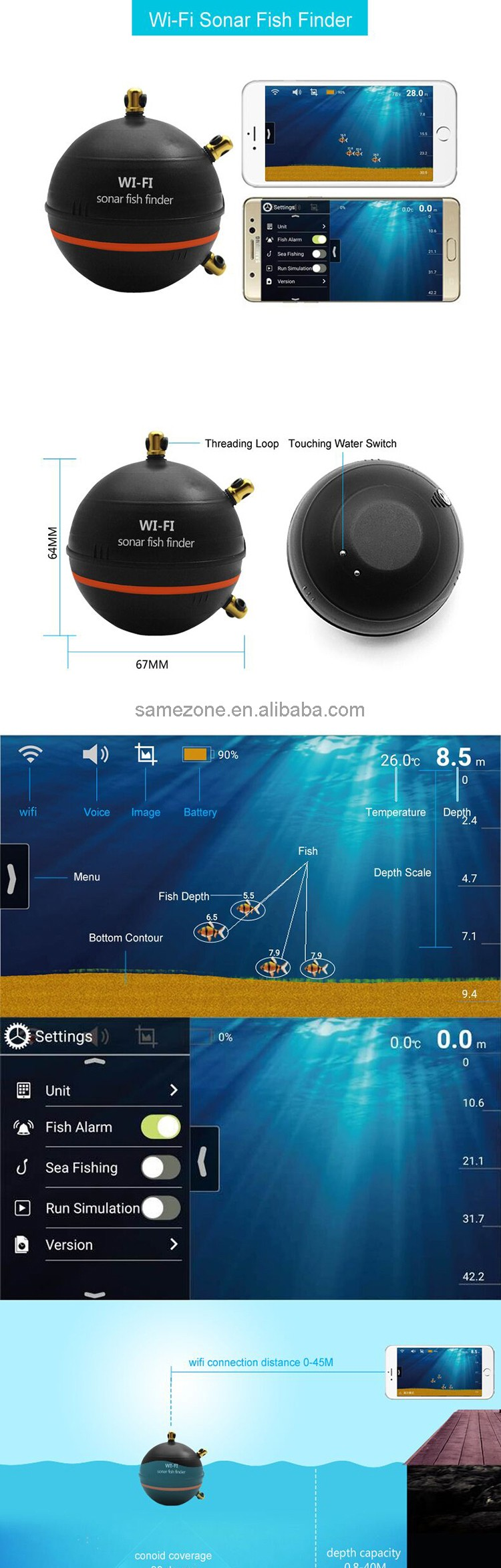 Wireless sensor sonar fish finder with wifi wlan buy for Wifi fish finder