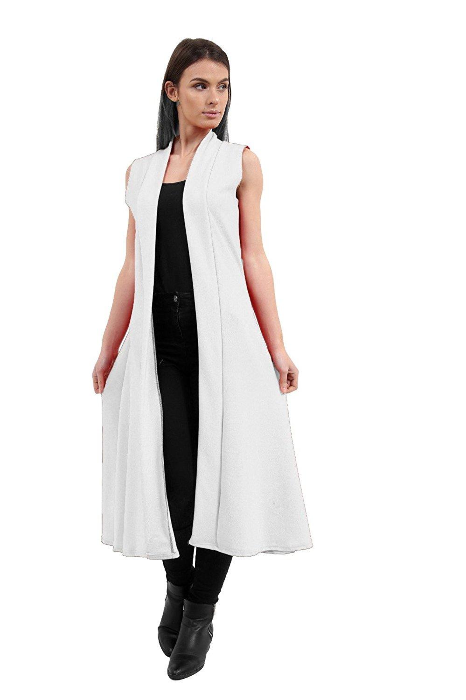 09cc06b1979b3 Get Quotations · Momo&Ayat Fashions Ladies Crepe Sleeveless Long Maxi Panel  Waist Coat US Size ...