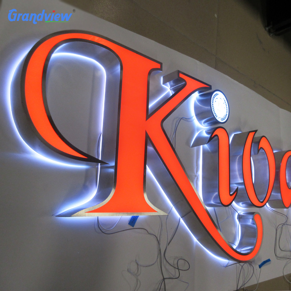 Advertising backlit or frontlit stainless steel LED 3d sign letters sign