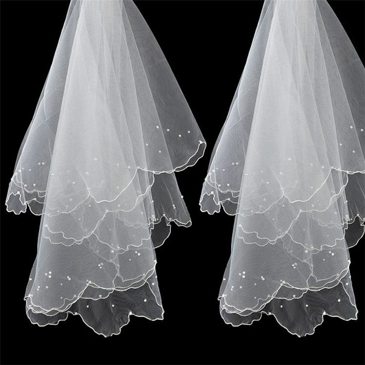 Factory prijs white wedding head veil voor bridal