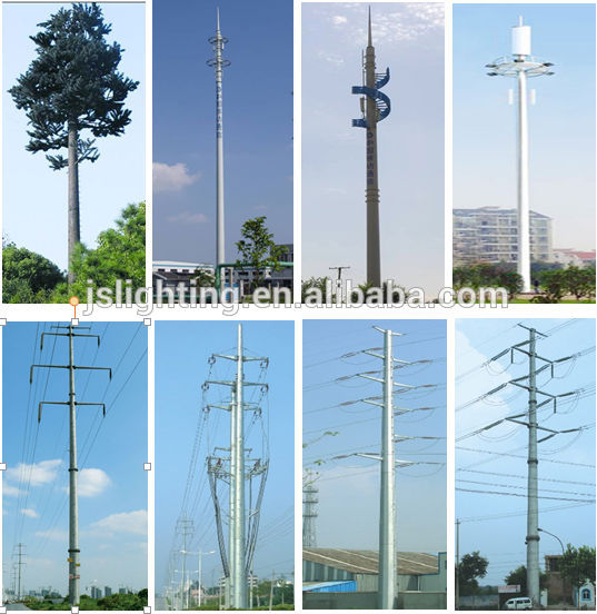 Paint white disguised antenna landscape tower with light / telecommunication steel light tower China Manufacturer