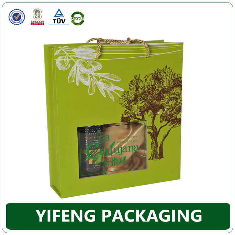 Luxury cardboard custom 2 bottles olive oil packaging box with clear window