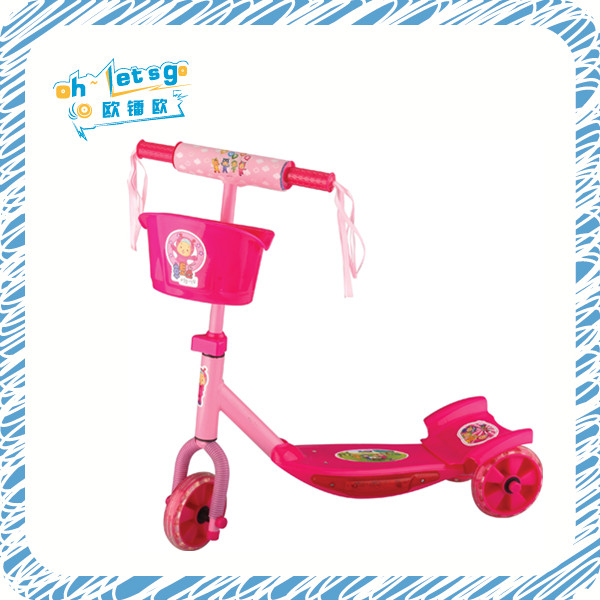 Front basket light and music function three wheels kids plastic foot pump scooter