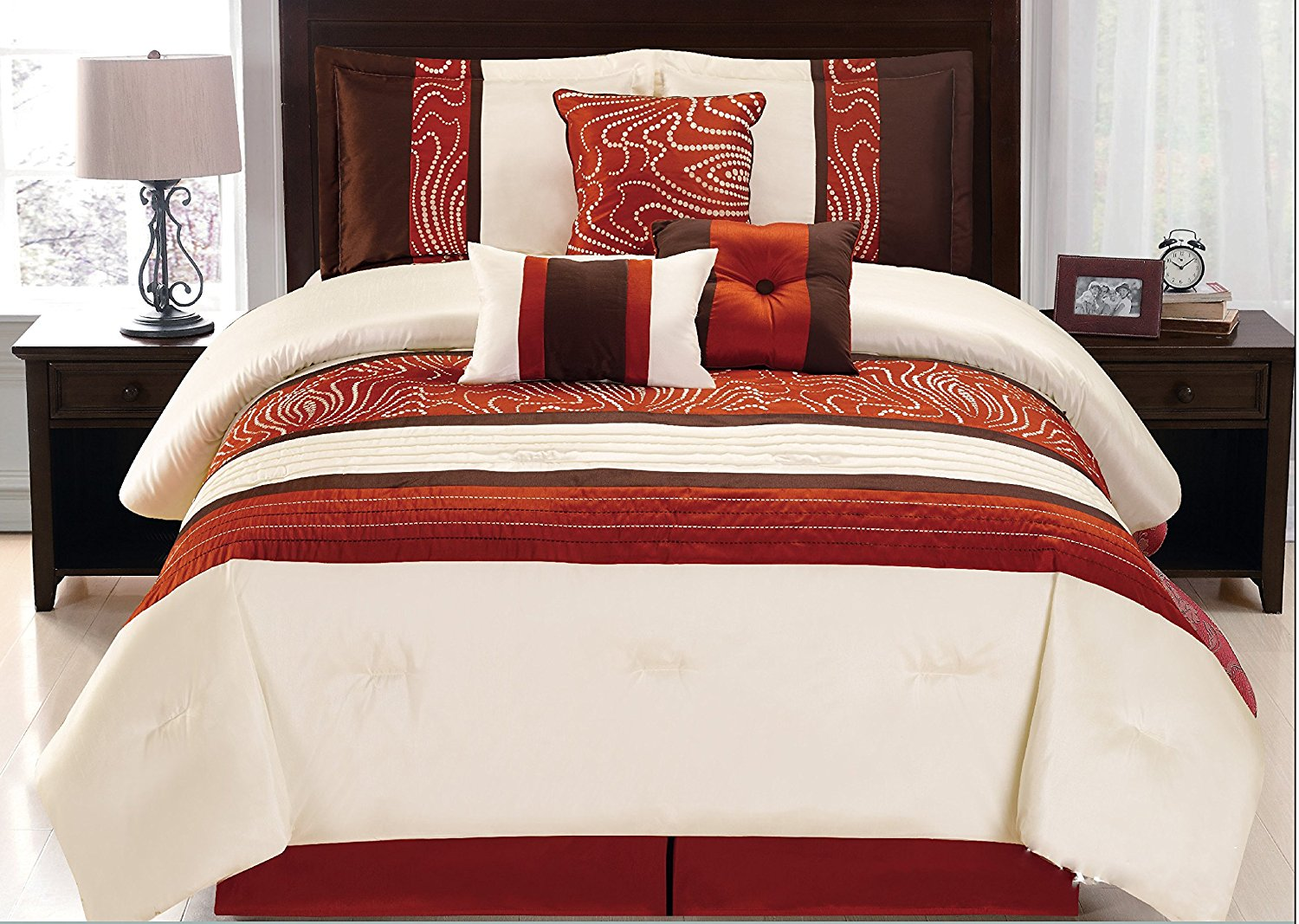 set queen pc piece comforter emerson brown and astonishing pinched pic rust scroll coffee full king taupe orange pleat embroidered trend for inspiration concept inspiring