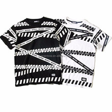 White/black Cotton Warning Tape pattern short sleeve o-neck couplp screen print china import wholesale t-shirts
